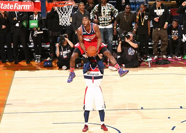 The title winning dunk by the Washington Wizards' John Wall.