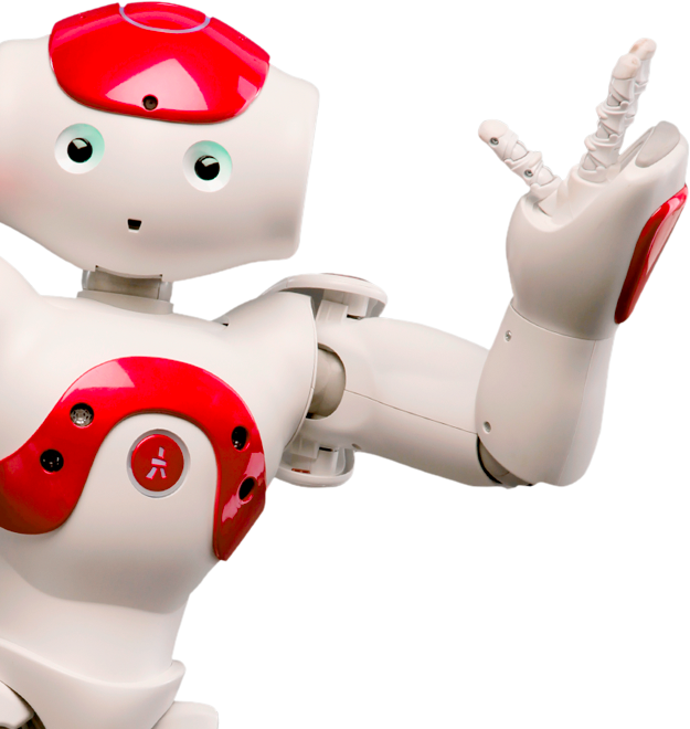 Unnamed red NAO robot