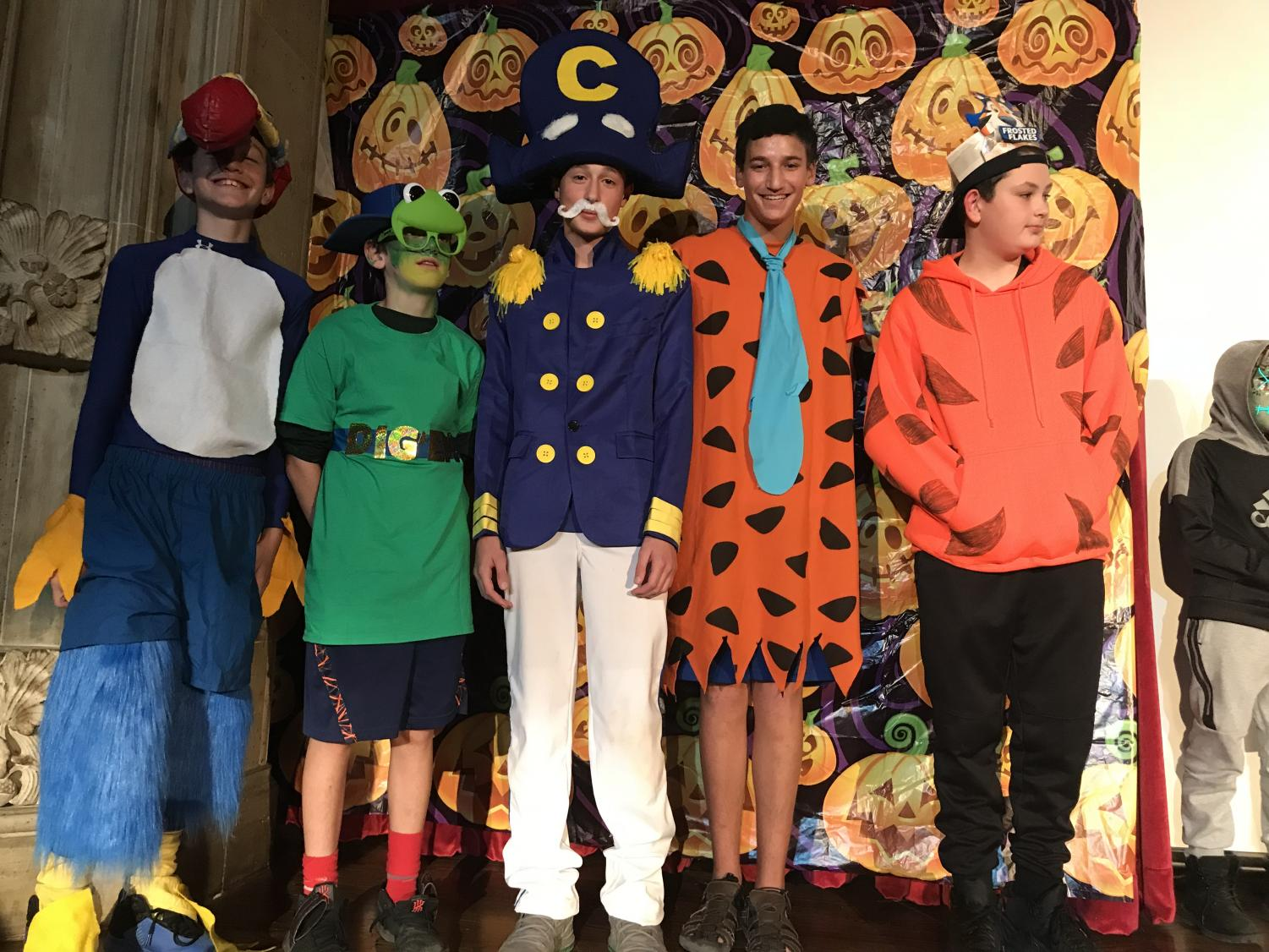 7th graders Chris Archer, Jack Straub, Luke Arone, Ari Hoffman, and Brendan Longworth pose for a pic during the Halloween Extravaganza.